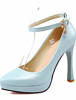 Women's Heels Spring Summer Fall Comfort Ankle Strap Club Shoes PU Wedding Office & Career Party & Evening Stiletto Heel BuckleBeige Blue