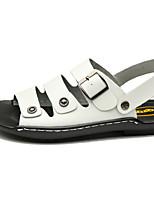 Zapatos de Hombre-Sandalias-Exterior / Oficina y Trabajo / Deporte / Vestido / Casual-Cuero-Negro / Marrón / Blanco
