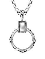Men's Titanium Steel Antique Silver Circle Shape Pendant(No Chain)