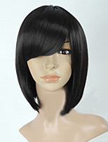 Most Popular Middle Long Black Straight Women Full Synthetic Wig