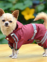 Cães Capa de Chuva / Roupa / vestuário Vermelho / Verde / Amarelo Inverno / Verão / Primavera/Outono Cor Única Prova-de-Água / Férias-