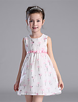 Girl's Casual/Daily Print Dress / Jeans,Polyester All Seasons Blue / Pink