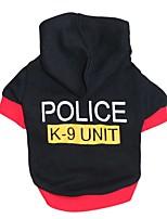 Gatti / Cani Felpe con cappuccio / T-shirt Nero Primavera/Autunno Polizia/Forze armate Di tendenza, Dog Clothes / Dog Clothing-Pething®