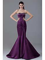 Formal Evening Dress Trumpet / Mermaid Strapless Court Train Satin with Beading / Bow(s) / Pleats