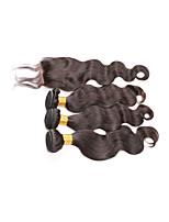 pelo virginal brasileño con cierre de armadura brasileña del pelo lía con la onda brasileña del cuerpo de cierre con cierre