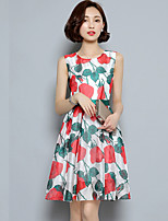 Women's Vintage / Simple Floral Plus Size / Sheath Dress,Round Neck Knee-length Others