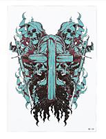 8pcs mujeres hombres calcomanía de flor de la cruz de la muerte del cráneo del cuerpo del hombro del brazo de arte tatoo pegatina tatuaje