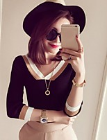 Women's Striped Black / Gray Pullover,Street chic ¾ Sleeve