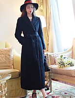 Women's Going out Simple Pea Coats,Solid Notch Lapel Long Sleeve Black Polyester