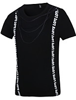 Men's Two False Slim White Letter Printed Black Color T-Shirt Tops Casual Short Sleeve Shirt O-Neck