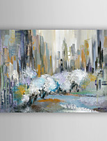 Hand Painted Oil Painting Abstract City in Blue with Stretched Frame 7 Wall Arts®