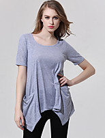 Women's Casual/Daily Simple Summer Blouse,Solid Round Neck Short Sleeve Gray Others Thin