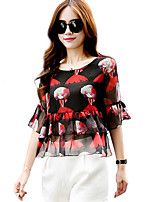 Women's Casual/Daily Street chic Summer Blouse,Print Round Neck ½ Length Sleeve Red / Black Polyester Thin