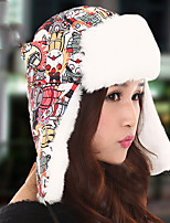 Women Thick Winter Outdoor Snow Warm Hat Ear Protection Cartoon Printing Lei Feng Hat