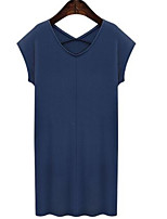 Women's Street chic Solid Plus Size Dress,V Neck Above Knee Cotton
