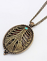 Antique Bronze Brushed European Style Metal Copper Brass Oval Shape Carved Photo Locket Pendant Necklace Jewelry