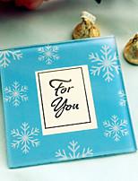 Blue Wineter Snowflake Photo Frame Glass Coaster Wedding Tea Party Souvenirs (1pcs)