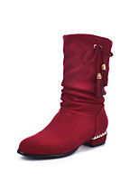 Women's Shoes Chunky Heel Fashion Boots / Round Toe Boots Dress / Casual Black / Brown / Red / Gray / Burgundy