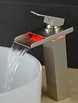 Stylish Heightening Single Handle Nickel Brushed LED Waterfall Bathroom Sink Faucet