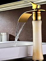 European Style Waterfall  Marble Stone Jade Solid Brass Copper Gold Bathroom Faucet Mixer Tap