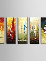 Hand painted Thick Oil Painting Ocean Sailing Scenery 5 Piece/Set Home Decor Wall Art with Stretched Frame