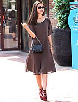 VERRAGEE® Women's Round Neck Short Sleeve Midi Dress-Q201