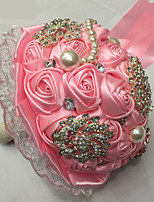 Bouquets de Noiva Redondo Rosas Buquês Casamento Rosa / Branco Cetim / Seda / Renda / Enfeite / Strass / Metal 9.06
