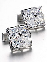 Men's Fashion Square Crystal Silver Alloy French Shirt Cufflinks (1-Pair)