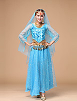 Belly Dance Outfits Women's Performance Thin Chiffon Sequins 3 Pieces Dance Costumes