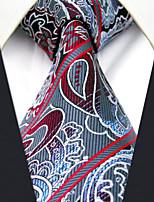 Men's 100% Silk  Tie Gray Paisley Necktie Jacquard Woven
