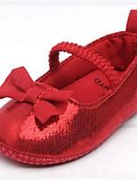 Zapatos de bebé-Planos-Exterior-Purpurina-Rojo