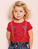 Girl's Red Tee,Print Cotton Summer