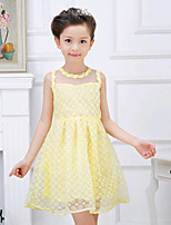 Girl's Casual/Daily Floral Dress,Cotton Summer White / Yellow