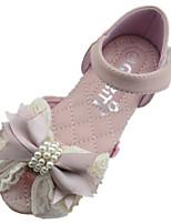 Girls' Shoes Outdoor PU Summer Comfort / Round Toe / Sandals Flat Heel Pink / Ivory