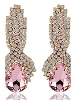 Luxury Drops Shape Cubic Zrconia Crystal Drop Earrings Jewelry for Lady