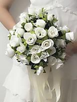 Bouquets de Noiva Forma-Livre Rosas Buquês Casamento / Festa / noite Branco Cetim 9.84