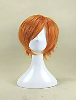 New Arrival  Capless Orange Color Short Curly Synthetic Hair Wig Heat Resistant Cosplays and Party Wigs
