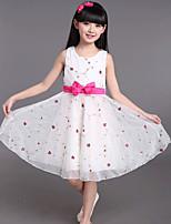 Girl's Cotton Summer Fashion Chiffon  Floret  Printing  Jumper Skirt  Lace Dress