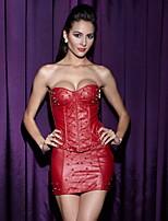 YUIYE® Sexy Shining Two-piece PU Leather Corset Skirt Set Sexy Red Waist Corset Women Plus Size S-2XL