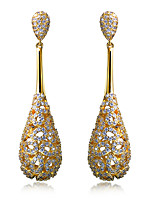 Simple Noble Drop Lou Empty Design Women Earrings 18K Gold and Platinum Plated Cubic Zircon Wedding Drop Earrings