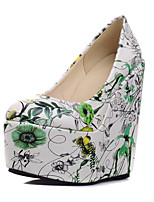 Women's Shoes Leatherette Wedge Heel Heels Heels Wedding / Party & Evening / Dress / Casual Blue / Green / Pink