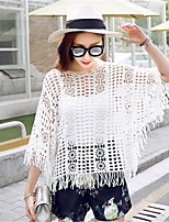 Women's Going out Street chic Blouse,Solid Round Neck ¾ Sleeve White / Beige Polyester Medium