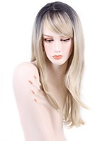 Long Straight Hair Wig with Bangs Black and White Color Synthetic Wigs for Women