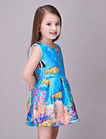 Girl's Casual/Daily Print DressCotton / Polyester Summer / Spring Blue