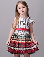 Girl's Floral Dress,Cotton / Rayon Summer / Spring / Fall Multi-color / Orange