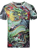 Print-Informeel / Grote maten-Heren-Katoen / Spandex-T-shirt-Korte mouw Groen
