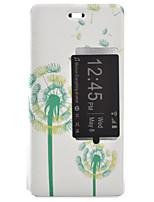pissenlit étui de tension peint pu avec rabat matériau couverture de téléphone pour Huawei Ascend p9 / p9 Lite