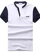 Masculino Camiseta Algodão / Elastano Mosaico de Retalhos Manga Curta Casual-Azul / Branco / Cinza