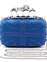 L.WEST Women's Handmade The Diamond Union Flag Skulls  Evening Bag