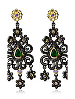 New fashion Vintage Flower Tassel Black Gold plated Multi Cubic Zirconia Drop earrings for women